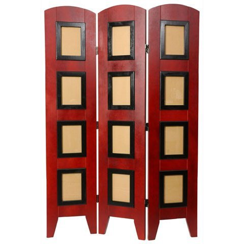 Oriental Furniture 4 1/2 ft. Low Photo Screen - 3 Panel - Rosewood
