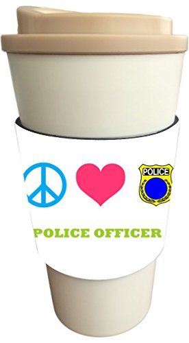 Rikki Knight Peace Love Police Officer Design Latte and Iced Coffee Drinks Cooler Beverage Insulator Neoprene Huggers sized