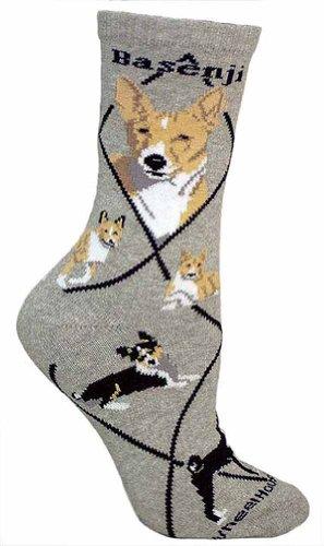 Basenji Animal Socks On Gray 9-11