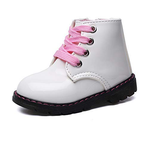Classic Waterproof Shoes for Girl Toddler Zip White Walking Boots,Toddler 6.5M