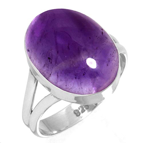 Sterling Silver Cabochon Amethyst Ring - 925 Sterling Silver Women Jewelry Natural Amethyst Ring Size 9