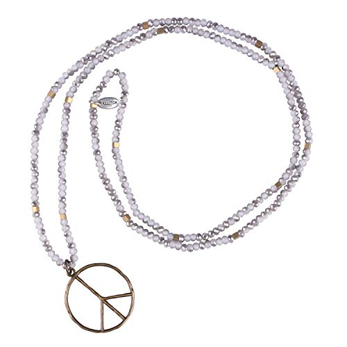 - KELITCH Classic Peace Sign Love Hippie Pendant on Frosted Crystal Beaded Necklace (Grey White)