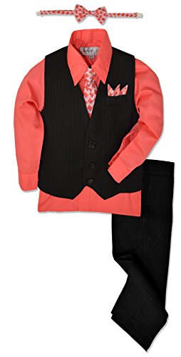 (Johnnie Lene JL40 Pinstripe Boys Formal Dresswear Vest Set (12, Black/Melon))