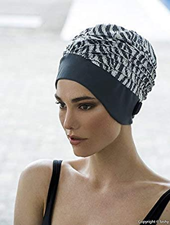 4380984ccb Image Unavailable. Image not available for. Colour  Fashy Ladies Swim  Turban Swimming Hat Grey Silver Sequins Sequinned