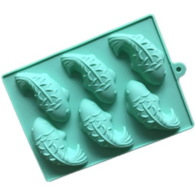 Koi Mold Soap Silicone 6-cavity Koi Carp Jelly Fish Soap Chocolate Silicone Bakeware Cake Mould h897