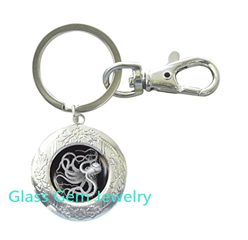 Jin Male Costumes (Vintage Octopus Locket Keychain , Octopus Locket Key Ring, Octopus jewelry, Sea life jewelry, Nautical Jewelry, Vintage art graphic Locket Key Ring, men's Locket Keychain,Q0061)