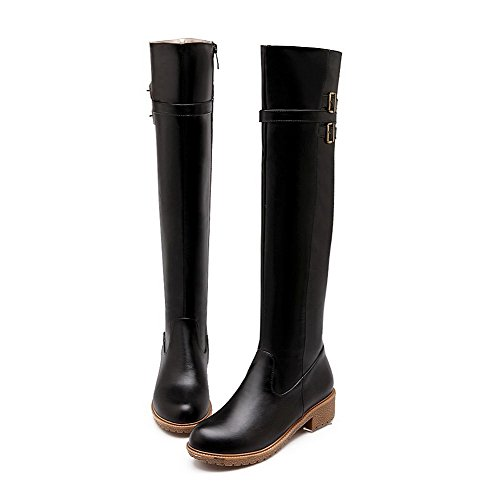 AmoonyFashion Womens PU Blend Materials Round Closed Toe Above-The-Knee Low-Heels Boots Black 4be6o0w