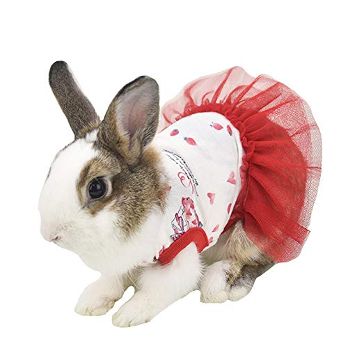 FLAdorepet Cute Bunny Rabbit Dress Clothes for Mini Dog Small Animal Chinchilla Easter Costume Outfits (XS(Chest 11.0inch), Red)