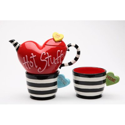 CG 62366 Valentine Striped and Heart Teapot and Mugs