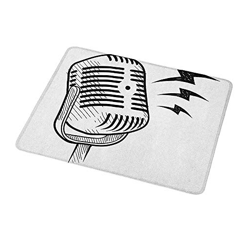 Art Mousepad Doodle,Retro Microphone Communication and Media Concept Radio Show Speech Talk Podcast,Black White,Customized Rectangle Non-Slip Rubber Mousepad 9.8