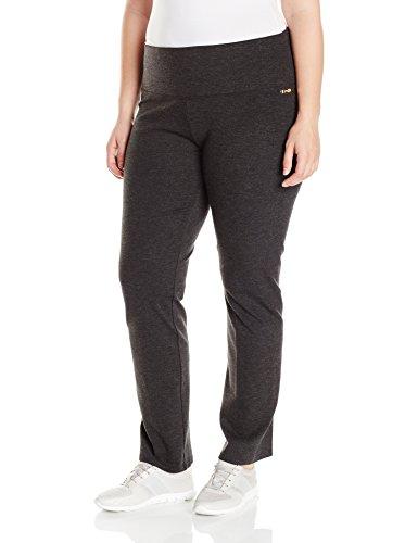 Calvin Klein Performance Women's Plus Size Control Waistband Straight Leg Pant-Techno Roma, Noir Heather, 1X