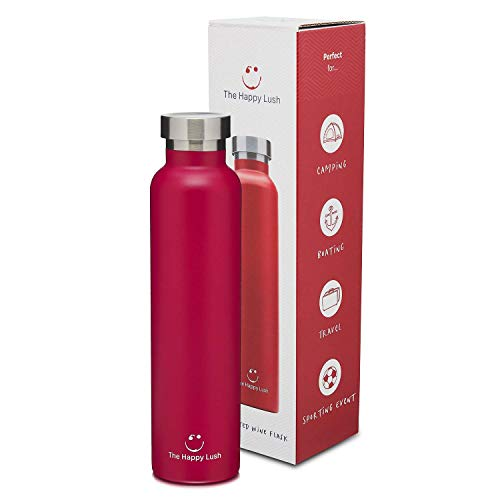 The Happy Lush Red 750 ml Insulated Wine Flask with Lid - Stainless Steel, Double Walled Vacuum Insulated Travel Bottle & Wine Growler for Hot and Cold Beverages ()