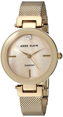 Anne Klein Women's AK/2472TMGB Diamond-Accented Gold-Tone Mesh Bracelet Watch