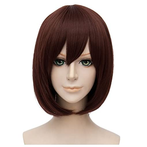 Flovex Short Straight Anime Bob Cosplay Wigs Natural Sexy Costume Party Daily Hair with Bangs
