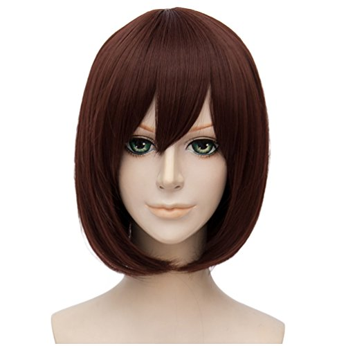 Sexy Care Bear Costumes (Flovex Short Straight Anime Bob Cosplay Wigs Natural Sexy Costume Party Daily Hair with Bangs (Red Brown))