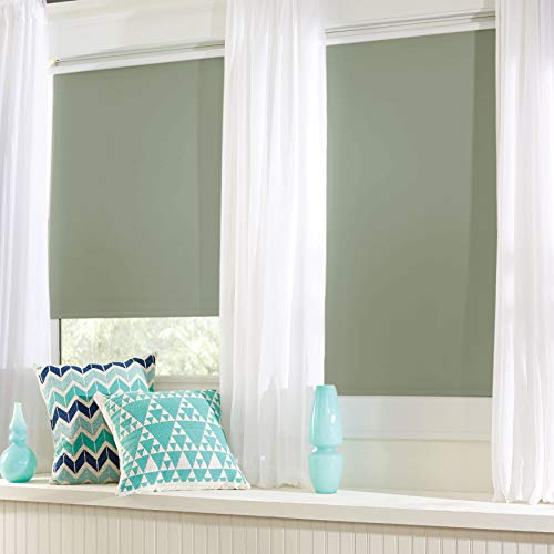 BrylaneHome Cordless Push-Up Roller Blackout Shade – 39I W 64I L, Sage