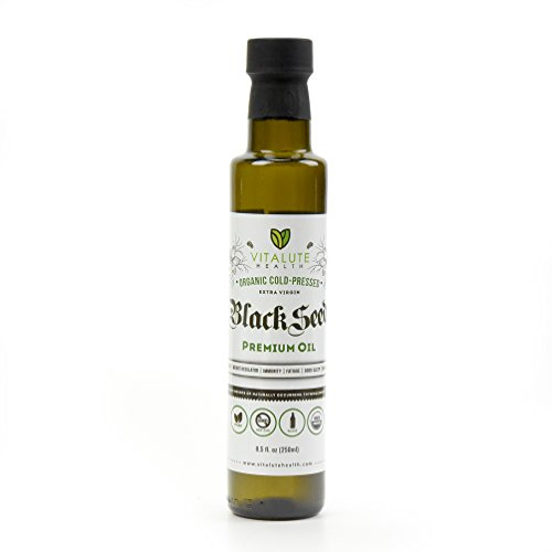 (Vitalute Health Black Seed Oil - 8.5 fl.oz (250ml) - Organic, Cold Pressed, Extra Virgin, Premium Oil, Glass Bottle [e-book with uses and recipes)