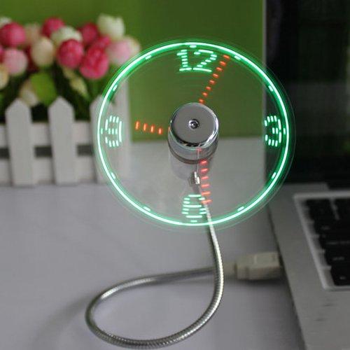 B2ocled-USB LED Clock Fan 90mm USB-Powered Portable Fan with Clock, LED Light Display Time, Mini Gooseneck Fan for laptop and PC-Green Light (Clock fan)