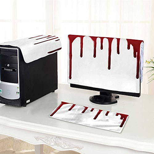 Jiahonghome Computer dustproof Three-Piece Flowing Blood Spooky Halloween Zombie Crime Scary Help me Themed Red White for LED LCD Screens Flat Panel HD Display -