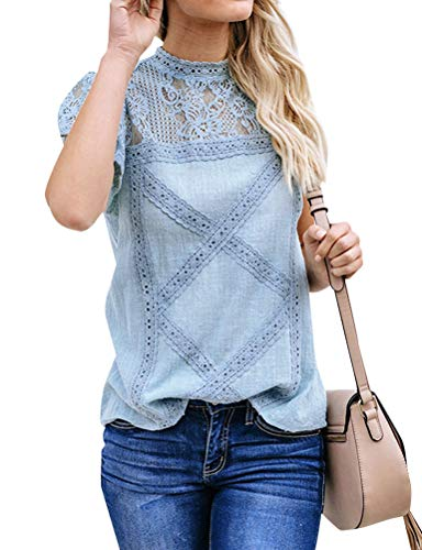 - ZXZY Women Cute Lace Blouse Top Short Sleeve Lace Hollow Out Turtle Neck T Shirt Blue