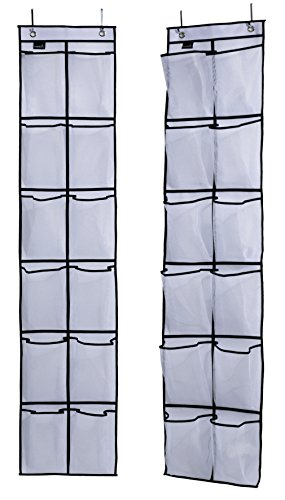Hanging Door Organizer - MISSLO Over The Door Shoe Organizer 12 Large Mesh Pockets Hanging Narrow Closet Door, White, 2 Pack