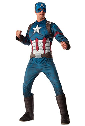 Captain Mask Adult America (Rubie's Costume Co. Men's Captain America: Civil War Deluxe Muscle Chest Costume, Multi,)