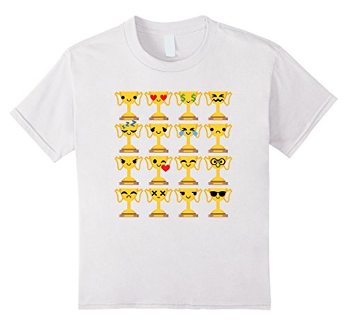 [Kids Golden Trophy Emoji Many Face Shirt T-Shirt Championship Tee 8 White] (Puck To The Face Costume)