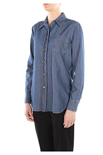GFC017BLEUTWILLCHAMBRAY Prada Camisas Mujer Algodón Azul Blu