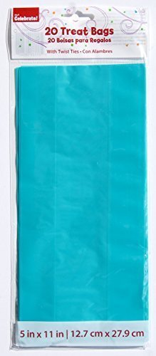 Teal Cellophane Treat Bags with Twist Ties - 20 count ()