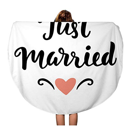 (Pinbeam Beach Towel Letter Just Married Wedding Lettering Modern Marriage Sign Travel 60 inches Round Tapestry Beach)