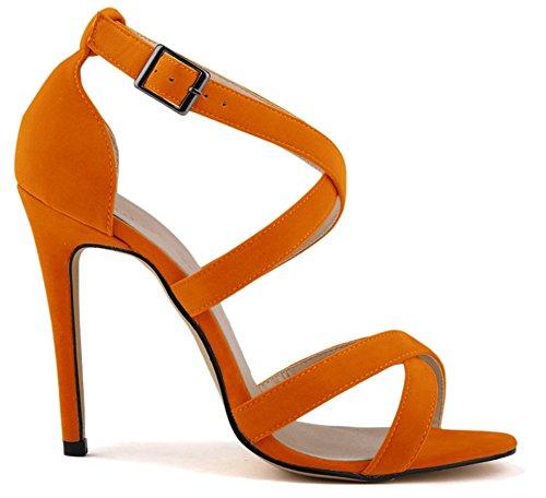 caviglia ragazza' donna Arancione FangstoSandals Strap alla da SUPPAq