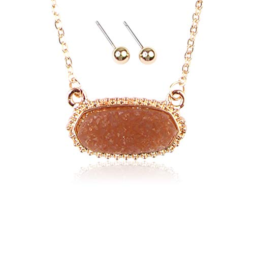(RIAH FASHION Acrylic Faux Druzy Jewel Stone Hexagon Oval Pendant Necklace - Delicate Chain/Sparkly Crystal Beaded Strand (Oval Hexagon Chain - Brown))