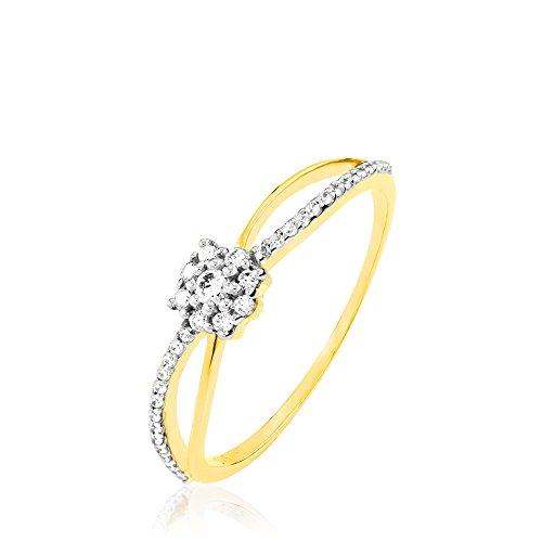 HISTOIRE D'OR - Bague Or Jaune Vrille Oxydes - Femme - Or jaune 375/1000