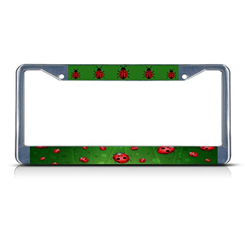 Ladybug Lady Bug Background Metal License Plate Frame Tag Border Two Holes Perfect for Men Women Car garadge Decor