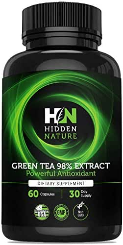 Green Tea Extract Capsules 98% with EGCG, Superior New Formula Metabolism Booster for Weight Loss, Antioxidant Supplement and Hearth Health with Natural Caffeine – 60 Green Tea Fat Burner Pills
