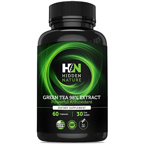 Green Tea Extract Capsules 98% with EGCG, Superior New Formula Metabolism Booster for Weight Loss, Antioxidant Supplement and Hearth Health with Natural Caffeine – 60 Green Tea Fat Burner Pills For Sale