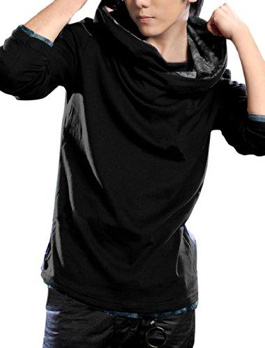 Men Hooded Cowl Neck Pullover Casual Hoodies Black M