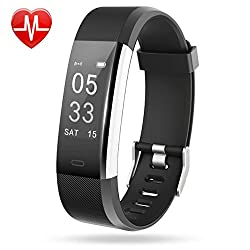 Juice Pack Lintelek, Heart Rate Monitor Activity Tracker with Connected GPS Tracker, Step Counter, Sleep Monitor, IP67 Waterproof Pedometer for Android and iOS Smartphone