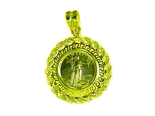 22Kt Fine Gold 1/10 Oz US Liberty Coin-14Kt Yellow Gold Greek Key/Rope Coin Pendant-Rndom Year Coin ()