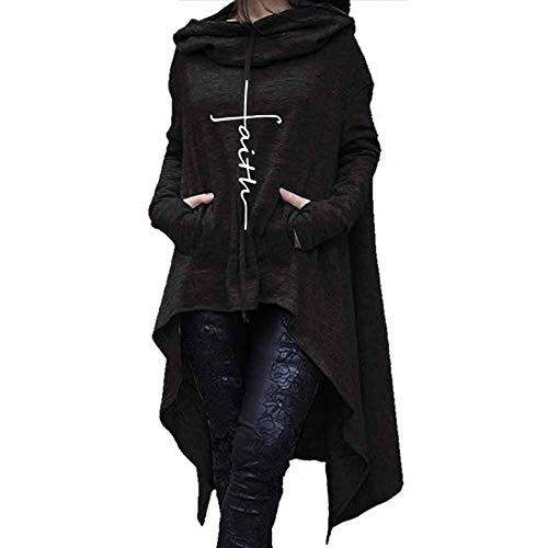 Women's Oversize Long Hooded Sweater GREFER Irregular Solid Turtleneck Embroidered Blouse Tops
