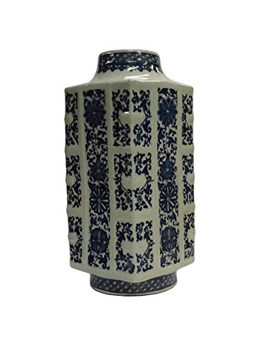 Golden Lotus Chinese Blue & White Porcelain Column Shape Vase acs1071