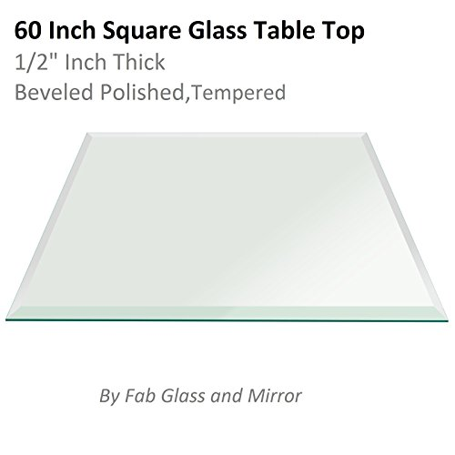 Fab Glass and Mirror Square Clear Glass Table Top 60'' Inch Tempered 1/2'' Thick Bevel Polish Radius Corners by Fab Glass and Mirror