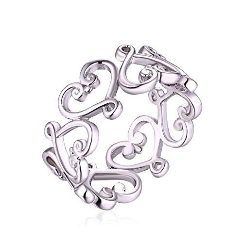 Barzel White Gold Plated Filigree Heart Ring ()