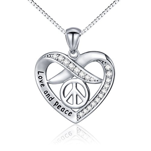 SILVER MOUNTAIN Sterling Silver Forever Love CZ Heart Pendant Necklace Bracelet Gift for Women Girl Sister (peace ()