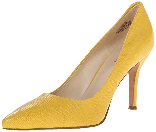 Nine West Women's Flax Leather Dress Pump, Yellow Textured Reptile, 7.5 M US