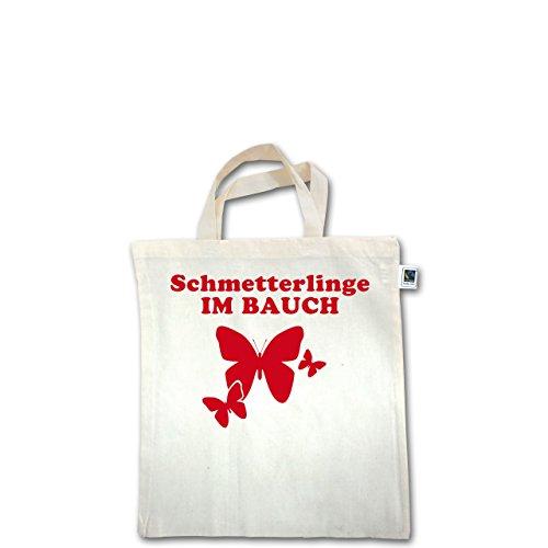 JGA Junggesellinnenabschied - Schmetterlinge im Bauch - Unisize - Natural - XT500 - Fairtrade Henkeltasche / Jutebeutel mit kurzen Henkeln aus Bio-Baumwolle