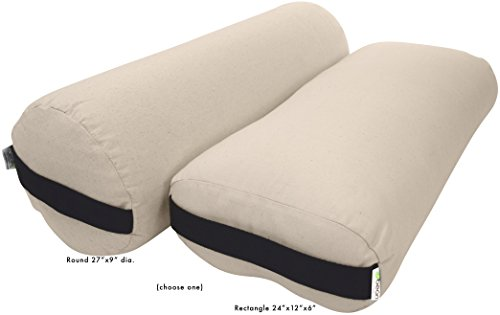 Bean Products Bolster Rectangle Yoga & Meditation Cushion - Made In The USA Natural Duck