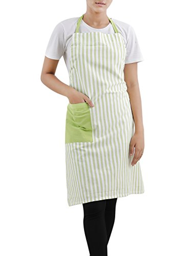 (Cotton Bib Apron (27.5 x 33.5 Inches), Green & White Stripe - With adjusting neck strap and side pocket)