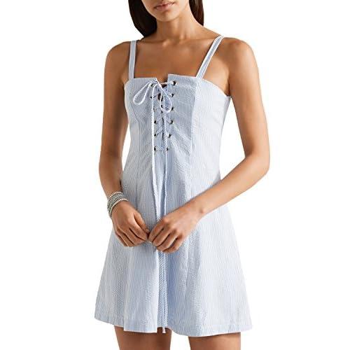 acd8d3d664 Lovely Verano Partido Vestido Mujer Club Dress Moda Rayas Delgado Pliegue  Mini Vestido de Coctel Sexy