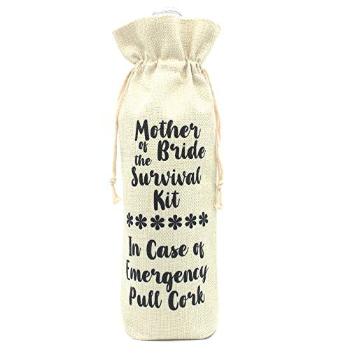 Perfect Gifts for Bride's Mother and Mother in law-Mother of the Bride Survival kit Wine bottle bags-Cotton linen Drawstring Wine bags]()